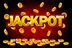 Jackpot and Falling from the top golden Coins. Vector Coin splash, rain money. Vector illustration for casino, slots. Roulette and game UI. Objects on a stock illustration