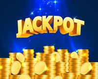 Jackpot in the form of gold coins. Isolated on blue background. Vector illustration stock illustration