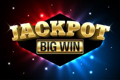 Jackpot casino banner, big win royalty free illustration