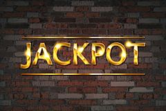 Jackpot gambling games banner. With jackpot inscription against an old brick wall. Vector illustration royalty free illustration