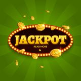 Jackpot gambling retro banner decoration. Business jackpot decoration. Winner sign lucky symbol template with coins money.  stock illustration