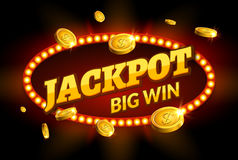 Jackpot gambling retro banner sign decoration. Big win billboard for casino. Winner sign lucky symbol template with coins money.  Royalty Free Stock Photo