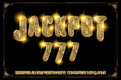Jackpot 777. Golden glowing alphabet. On a dark background. Vector illustration for your graphic design royalty free illustration