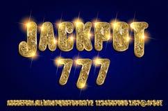 Jackpot 777. Golden glowing alphabet. On a dark background. Vector illustration for your graphic design stock illustration