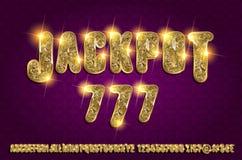 Jackpot 777. Golden glowing alphabet. On a dark background. Vector illustration for your graphic design vector illustration