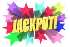 Jackpot golden word among bright multicolored stars. 3d render royalty free illustration