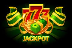 Jackpot icon with coins, money and 777. Casino awards. Vector Objects on separate layers vector illustration