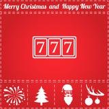Jackpot Icon Vector. And bonus symbol for New Year - Santa Claus, Christmas Tree, Firework, Balls on deer antlers stock illustration