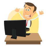 Jackpot On Internet. Illustration of a cartoon happy businessman earning money while gaming on internet Royalty Free Stock Photos