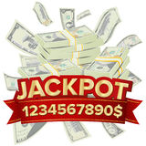Jackpot Isolated Vector. Golden Casino Treasure. Big Win Banner For Online Casino, Card Games, Poker, Roulette. Royalty Free Stock Image