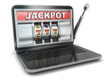 Jackpot.  Laptop slot machine. Stock Photo