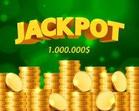 Jackpot Million Dollar in Form von Goldmünzen lizenzfreie abbildung