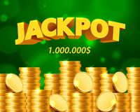 Jackpot million dollars in the form of gold coins. Isolated on green background. Vector illustration royalty free illustration