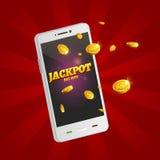Jackpot money smart phone coins big win. Big income earn mobile technology.  stock illustration