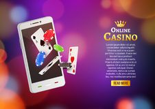 Jackpot money smart phone coins big win. Big income earn mobile technology banner poster.  royalty free illustration