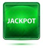 Jackpot Neon Light Green Square Button. Jackpot Isolated on Neon Light Green Square Button royalty free illustration