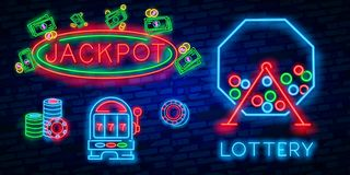 Jackpot neon sign. Slot machine shape with chips or coins on brick wall background. Night bright advertisement. Vector. Jackpot neon sign. Slot machine shape royalty free illustration