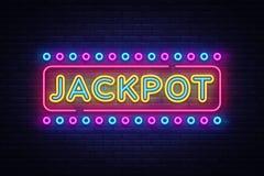 Jackpot neon sign vector. Casino Design template neon sign, light banner, neon signboard, nightly bright advertising. Light inscription. Vector illustration stock illustration