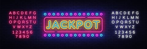 Jackpot neon sign vector. Casino Design template neon sign, light banner, neon signboard, nightly bright advertising. Light inscription. Vector illustration vector illustration