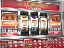 Jackpot no slot machine. Fotos de Stock