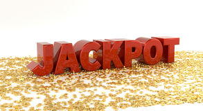 Jackpot - Red text on gold stars - High quality 3D Render Stock Image
