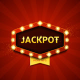 Jackpot retro banner with glowing lamps Stock Photography