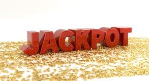 Jackpot - roter Text auf Goldsternen - hohe Qualität 3D übertragen Stockbild
