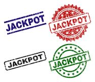 Scratched Textured JACKPOT Seal Stamps. JACKPOT seal prints with distress surface. Black, green,red,blue vector rubber prints of JACKPOT caption with unclean royalty free illustration