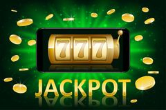 Jackpot shiny gold casino label with money coins. Casino jackpot winner poster gamble with text. Slot machine success. Concept. Vector illustration EPS 10 Stock Photo