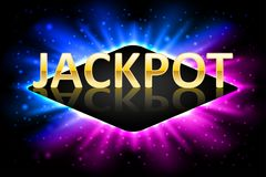 Jackpot shiny gold casino lotto label with neon frame. Casino jackpot winner design gamble with shining text. Vector royalty free illustration