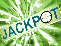 Jackpot Shows Lucky Winner Gambling In Vegas Stock Image