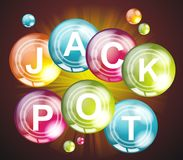Jackpot sign.Casino, lotto label on balls. Royalty Free Stock Photography