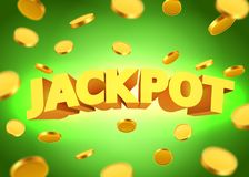 Jackpot sign with gold realistic 3d coins background. Vector illustration Royalty Free Stock Photo