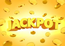 Jackpot sign with gold realistic 3d coins background. Vector illustration Royalty Free Stock Images