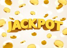 Jackpot sign with gold realistic 3d coins background. Vector illustration Royalty Free Stock Photography