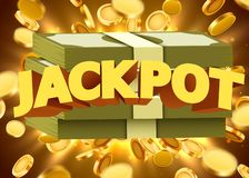 Jackpot sign with gold realistic 3d coins background. Vector illustration royalty free illustration