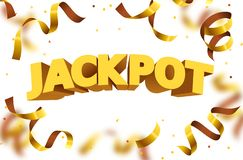Jackpot sign with gold realistic 3d falling confetti. Vector illustration stock illustration