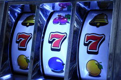 Jackpot on slot machine Royalty Free Stock Photo