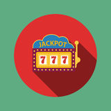 Jackpot on a slot machine , flat icon. Vector stock illustration