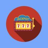 Jackpot on a slot machine , flat icon. Vector royalty free illustration