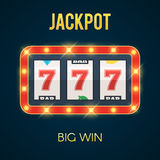 Jackpot on slot machine with glowing lamps. Lucky seven Jackpot on slot machine with glowing lamps. Big Win concept. Vector illustration for web banner, online stock illustration