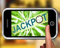Jackpot On Smartphone Showing Target Gambling Royalty Free Stock Photos