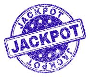 Scratched Textured JACKPOT Stamp Seal. JACKPOT stamp seal imprint with distress texture. Designed with rounded rectangles and circles. Blue vector rubber print royalty free illustration
