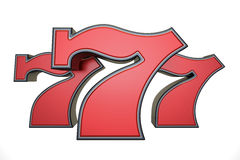 777 jackpot symbol, 3D rendering. On white background royalty free illustration