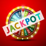 Jackpot Symbol with Wheel of Fortune on Red Background. Vector royalty free illustration