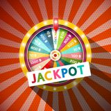 Jackpot Title with Wheel of Fortune on Red Background. Jackpot Title with Wheel of Fortune on Vintage Background royalty free illustration