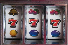 Jackpot três sete Fotografia de Stock