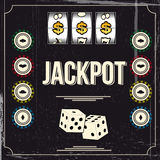 Jackpot. Vintage background of a casino poster Stock Photography