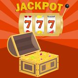 Jackpot, win the jackpot. Chest with gold coins to win in the jackpot. stock illustration