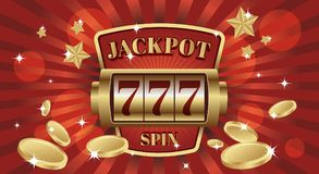 777 jackpot win screen slot mashine. Red and gold background color. vector illustration